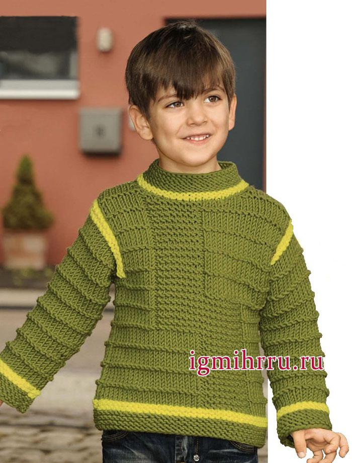 пуловер фисташкового цвета со структурным узором для мальчика 2 8