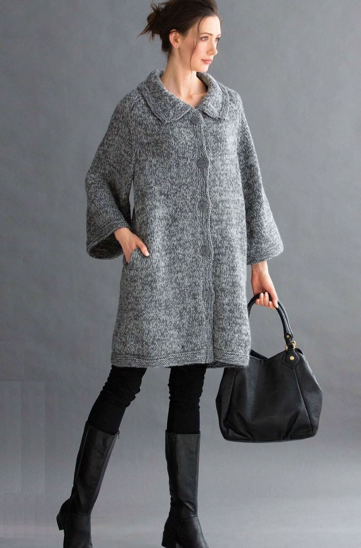 свободное вязаное пальто Cocoon с отложным воротником и карманами от
