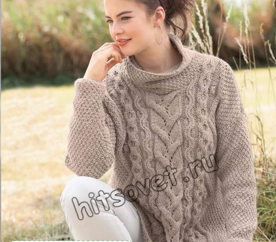 свитер оверсайз с косами хитсовет вязание спицами для женщин