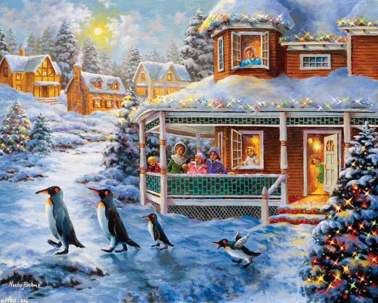 Рождественские картинки американских художников