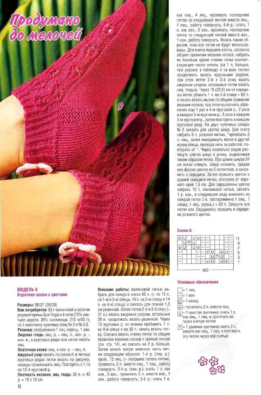 Вязание носок спицами в картинках