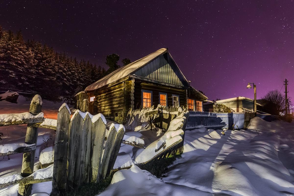 Красивая картинка с зимой в деревне