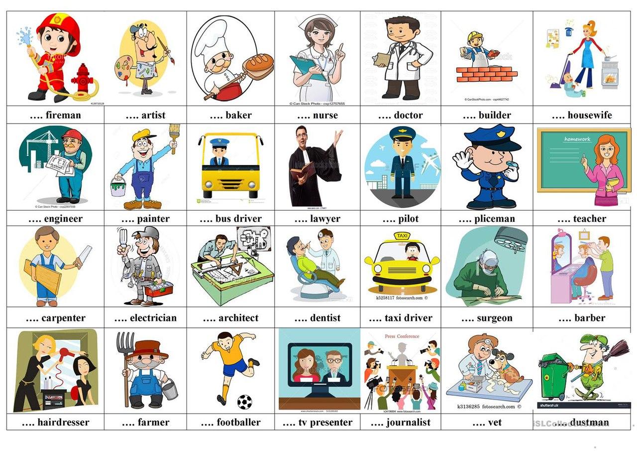 Картинка профессии для детей на английском