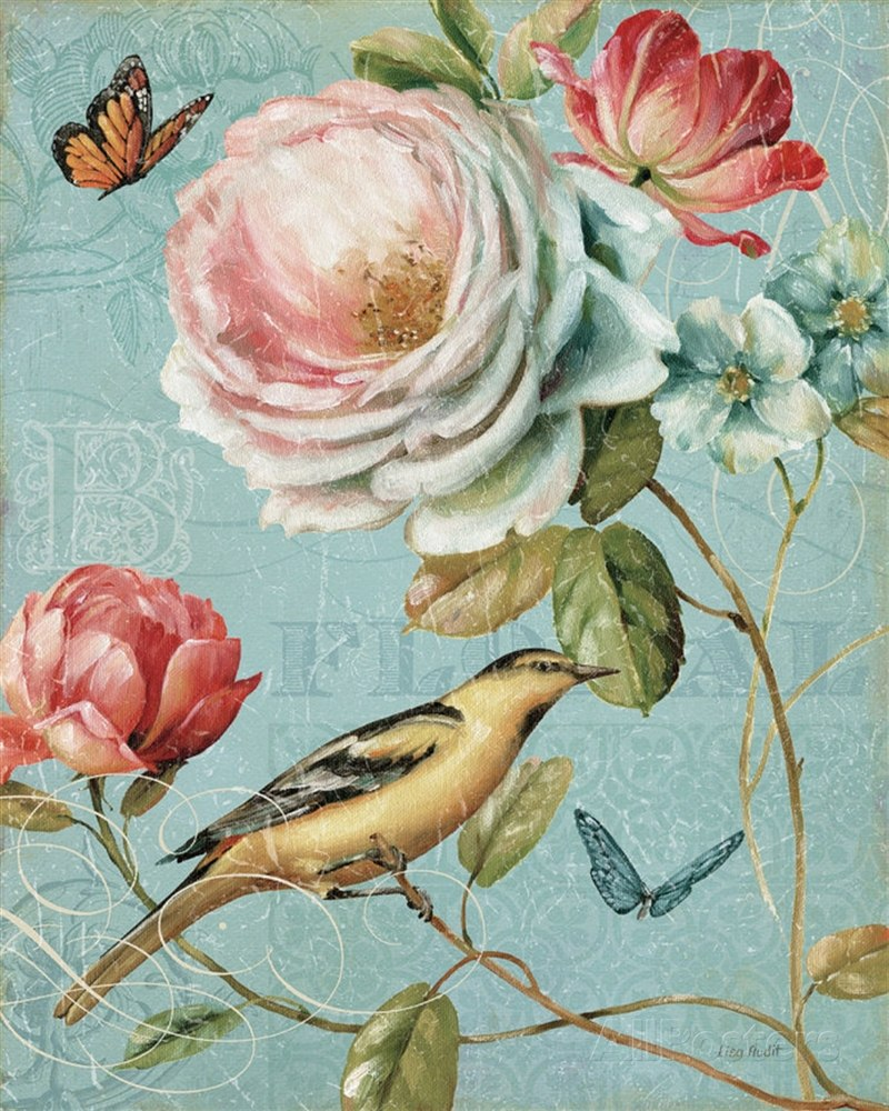 Птицы картинки для декупажа с розами