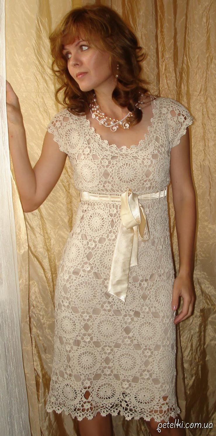 Красивые вязаные платья крючком со схемами фото 280