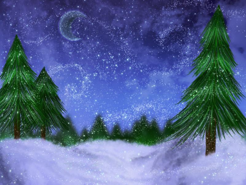 Сказочный зимний лес анимационные картинки