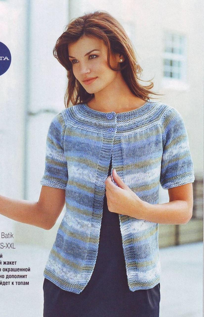 Пуловер спицами с круглой кокеткой