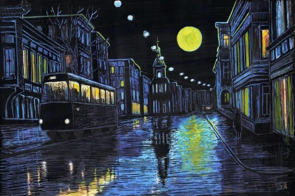 женские картинка на рисование ночные огни домов вашем