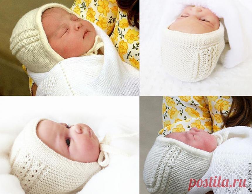 Шапочка для новорожденного спицами принцессы Шарлотты