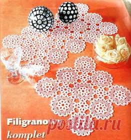 Crochet Knitting Handicraft: Round motif for doily and tablecloth