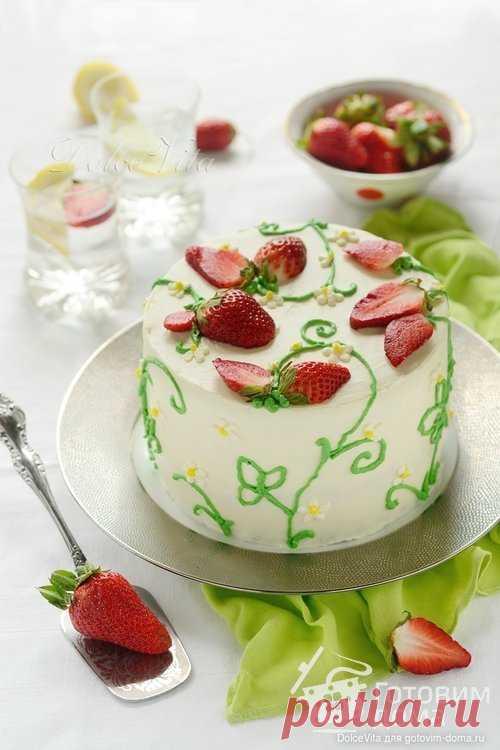 """Торт """"Лика"""" с лимоном и клубникой - пошаговый рецепт с фото на Готовим дома"""