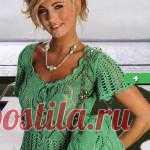Вязанная ажурная блузка | Вязание спицами и крючком