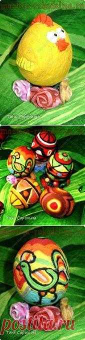 Пасхальное яйцо-мотанка  Предлагаю вот такое интересное МК по изготовлению подарочных пасхальных яиц-мотанок)