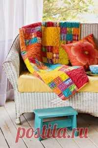 """Очень красивое радужное одеяло """"Манго-манго"""" в технике пэчворк (квилтинг)."""