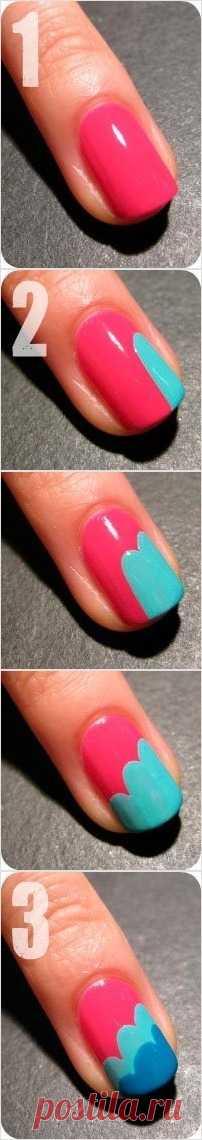 Красивые ногти «Облака» (инструкция при клике на картинку)