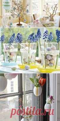 Украшаем дом к Пасхе: делаем яичное дерево, весенне-перепелочное настроение в стаканах и декор на окнах - вместо надоевших за зиму занавесок.