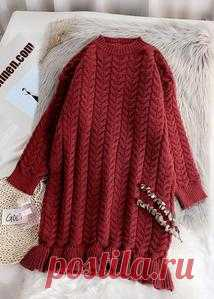 Chunky o neck thick Sweater fall Wardrobes Classy red Largo knitted dr – SooLinen