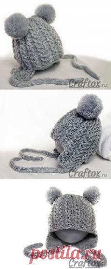Зимняя детская шапка спицами схема фото 581