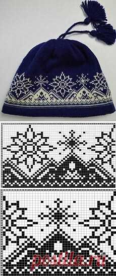 Вязанная шапка с узора.  Схема узора