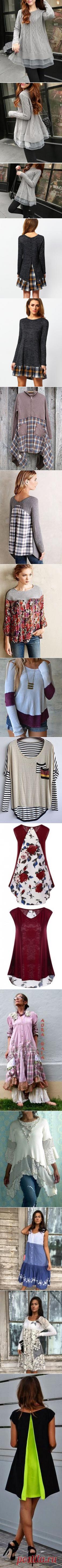 Grey Long Sleeve Contrast Plaid Dress | MakeMeChic.COM | Шитье, Платья и Переделка одежды
