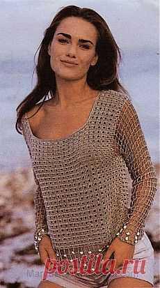 Пуловер крючком..