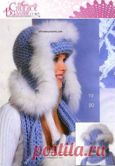 Вязание спицами меховой шапки с помпоном / Стильное вязание