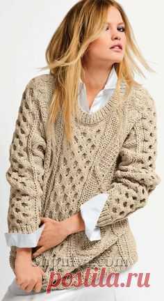 Ирландский свитер спицами
