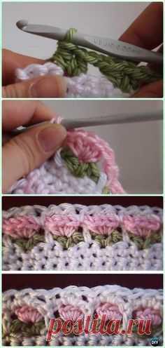 Вязание крючком в цветочном стежке Free Pattern - Вязание крючком Цветочная стежка Бесплатные шаблоны