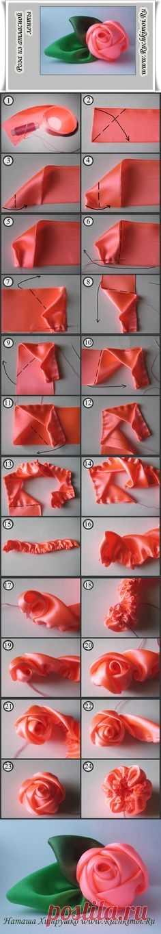 Как сделать из ткани бутон розы