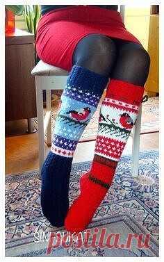 Вязанные высокие носки с рисунком Снигирь