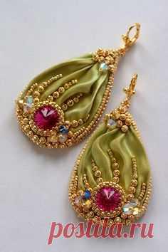 ~~Beaded Shibori Earrings with Swarovski Fuchsia Cream by ZuziHake~~