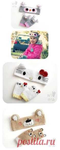 Вязаные крючком детские митенки. Вязаные повязки на голову | 3vision - Fashion blog