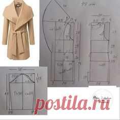 #Выкройка el abrigo con el cuello ancho\u000aLa dimensión 44.