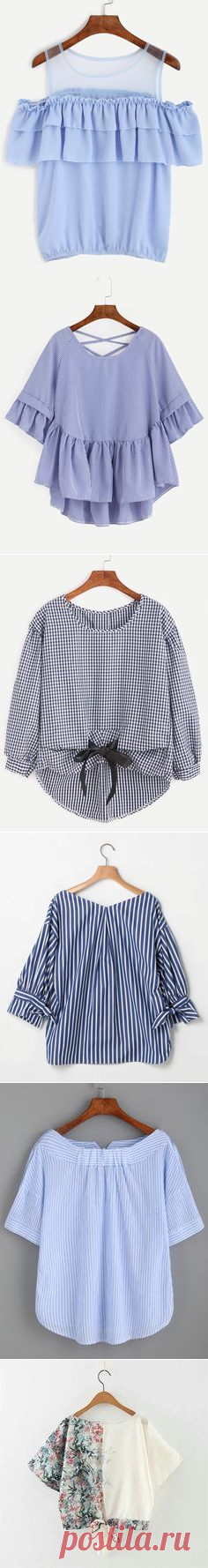 (21) White Striped Tie Front Puff Sleeve Blouse -SheIn(Sheinside)