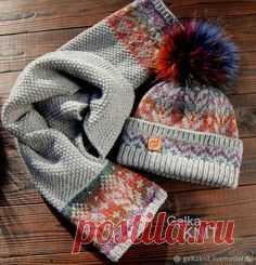 Зимний жаккардовый комплект – купить или заказать в интернет-магазине на Ярмарке Мастеров | Практичный, красивый, удобный, тёплый - четыре в…