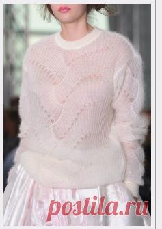 Нежный пуловер от Antonio Berardi спицами. Очень красивый пуловер из мохера спицами | Я Хозяйка