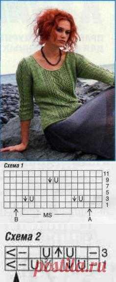 Вязаный пуловер с рукавами 3/4 размеры: 36/38 (42/44) » Портал для настоящих красоток