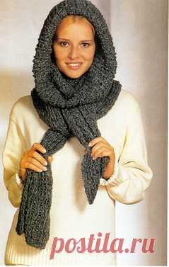"""Чудо-шарф спицами  Чудо-шарф спицами Пушистый мохер, спицы №7, простой узор-и за пару вечеров вы успеете связать необычный шарф. После этого смело экспериментируйте: эту потрясающую вещь можно носить по-разному! Модель 66 Комбинированный шарф. Размер 32х140 см Вам потребуется: 400 г. изумрудно-зеленой пряжи (63% мохера, 37% полиамида, 55м\50г); круговые спицы №7. Основной узор: 1-й ряд\круговой ряд: вязать попеременно … Подробнее  """"Чудо-шарф спицами"""""""