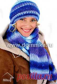 Шапка и шарф спицами » Вязание крючком и спицами схемы и модели
