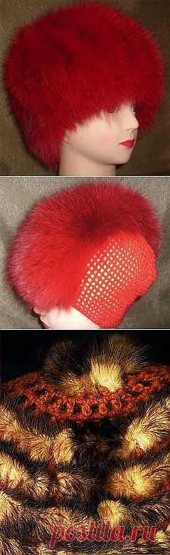 Вязаные шапочки из меха. Мастер-классы + видео  Есть ссылки на другие изделия из меха.