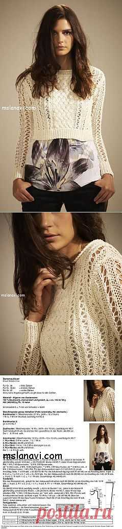 Короткий вязаный пуловер от Austermann   Вяжем с Ланой