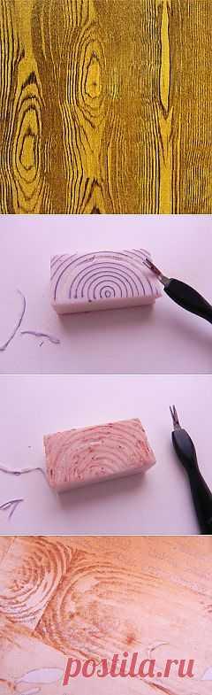 Самодельный штампик, имитирующий древесину дерева..