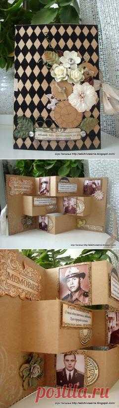 Вдохновение: юбилейная открытка! Открытка раздвигается в настольную фото-рамку!