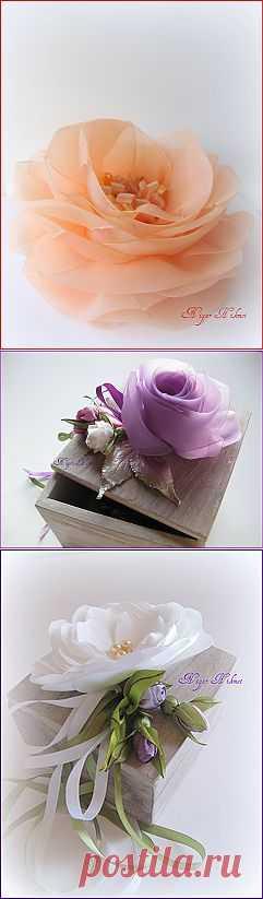 Красота необыкновенная! Цветы из лент  Нигяр Хикмет