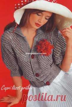 Жакет с короткими рукавами сетчатым узором