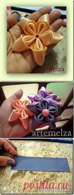 ARTEMELZA - Arte e Artesanato: Flor dupla em fita.