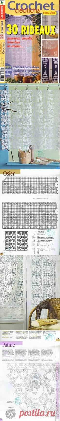 Crochet Creations - 30 rideaux panneaux, dentelle, brise-bise au crochet.