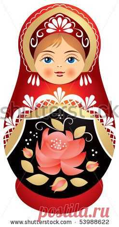 (262) Matryoshka doll vector in traditional Russian head-dress Kokoshnik, with red rose on Sarafan | Kokeshi y mamushkas