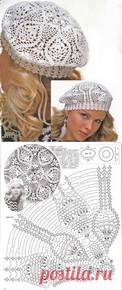 Ажурный летний берет, схема вязания крючком | ВЯЗАНИЕ ШАПОК: женские шапки спицами и крючком, мужские и детские шапки, вязаные сумки