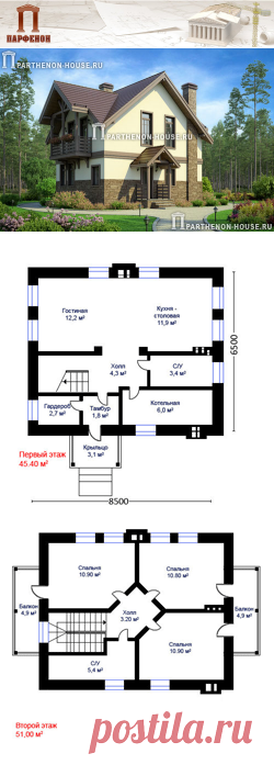 Проект небольшого дома с жилой мансардой ПА-84Б  Площадь общая: 84,24 кв.м. + 12,86 кв.м. Площадь крыши: 131,20 кв.м. Высота 1 этажа: 2,760 м. Высота 2 этажа: от 1,800 м. до 3,300 м. Высота дома в коньке: 8,710 м.   Технология и конструкция: строительство дома из газобетона. Фундамент: монолитная ж/б плита. Цоколь: из монолитного железобетона. Перекрытия дома: монолитные ж/б плиты. Стены: кладка из блоков газобетона 400 мм + 50 мм утеплитель.